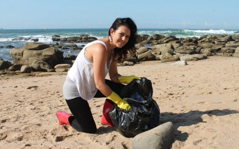 Clansthal Conservancy. Periodic beach cleaning stops plastic waste getting covered by wind-blown sand and disintegrating