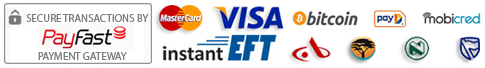 We process Visa, Mastercard, Credit and Debit Cards as well as Instant EFT payments.